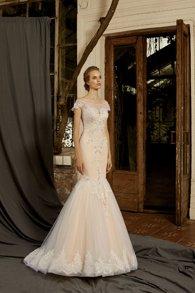 Madeleine - Lace Mermaid Wedding Dress with Illusion Neckline - Maxima Bridal
