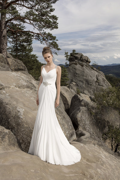 Diana - Sheath Chiffon Wedding Dress with Pleated Bodice - Maxima Bridal