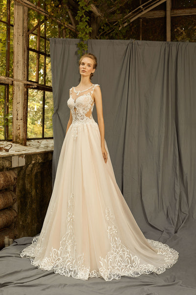 Thalia - A-Line Lace Wedding Dress with Side Cutouts - Maxima Bridal