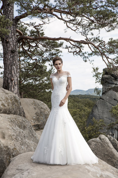 Anastasia - Lace Mermaid Wedding Dress with Illusion Lace Back - Maxima Bridal