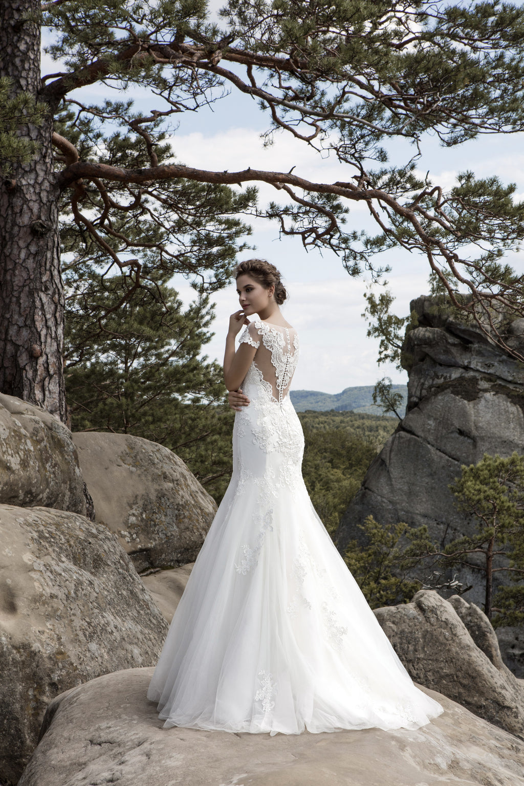 This classy lace mermaid gown features an elegant illusion neckline and an illusion lace back.