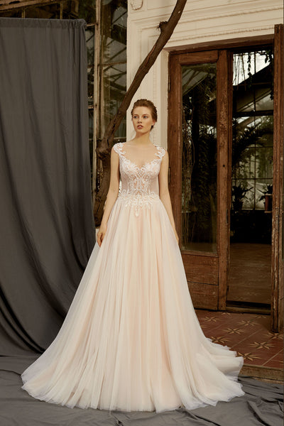 Dana - A-Line Wedding Dress with Lace Illusion Back - Maxima Bridal