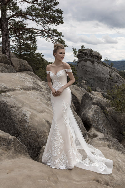 Audrey - Off the Shoulder Lace Mermaid Wedding Dress - Maxima Bridal