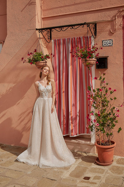 Ines - Sparkling A-Line Wedding Dress with Sweetheart Neckline - Maxima Bridal