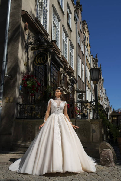 Valerie - High Neck Lace Royal Inspired Ball Gown - Maxima Bridal