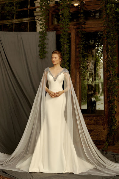 Frances - Cape Sleeves Mermaid Wedding Dress with V-Neck - Maxima Bridal