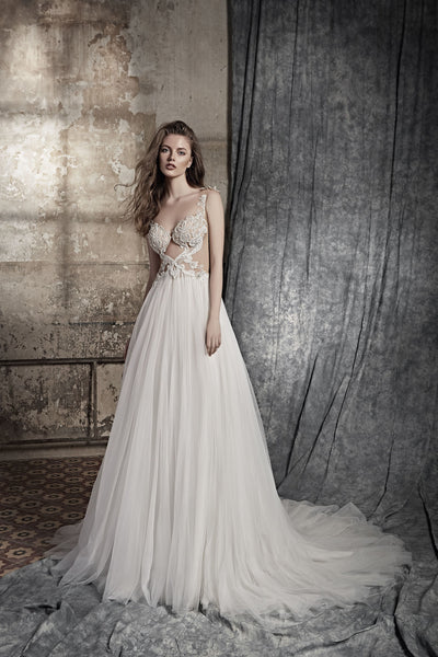 Catalina - Boho A-Line Wedding Dress with Tulle Skirt - Maxima Bridal