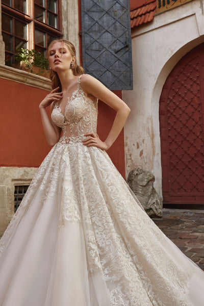Serena - Lace and Tulle Ball Gown with Illusion Back