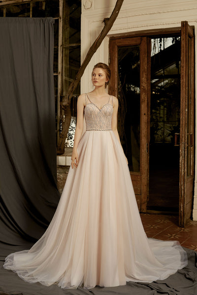 Lucille - Embroidered Bodice A-Line Wedding Dress - Maxima Bridal