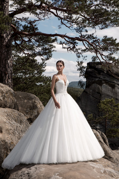 Charlotte - Beaded Bodice Ball Gown with Plunging Neckline - Maxima Bridal