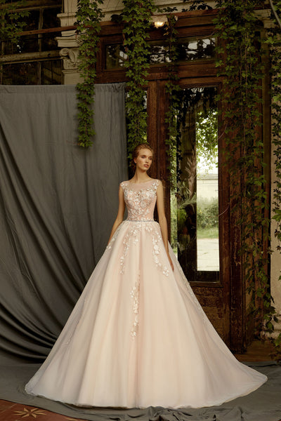 Marta - Ball Gown with Floral Lace Applique - Maxima Bridal