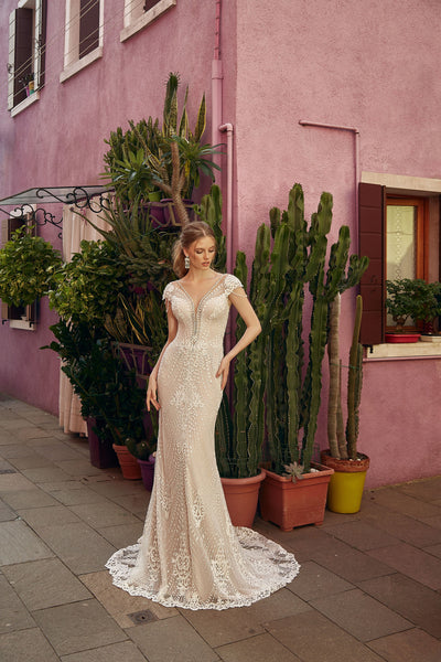 Nadine - Sheath Wedding Dress with Scalloped Lace Edge - Maxima Bridal