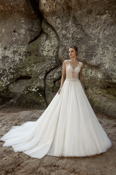 Grace - Beaded Bodice Ball Gown with Cathedral Train - Maxima Bridal
