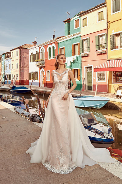 Monique - Sheath Wedding Dress with Detachable Train - Maxima Bridal
