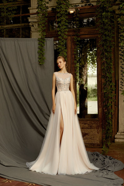 Venus - A-Line Wedding Dress with Tulle Slit Skirt - Maxima Bridal