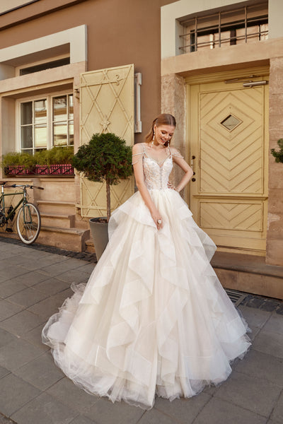 Carolina - Beaded Ball Gown Wedding Dress with Tiered Skirt - Maxima Bridal
