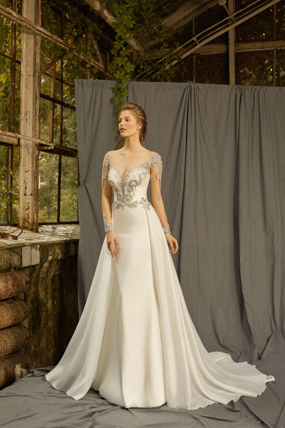 Paris - Long Sleeve Sheath Wedding Dress with Overskirt - Maxima Bridal