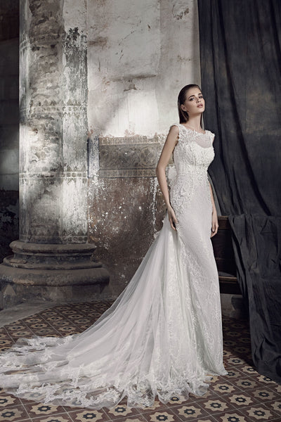 Stella - Sheath Wedding Dress with Lace Train - Maxima Bridal