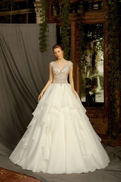 Aida - Ball Gown with Organza Ruffle Skirt and Embroidered Bodice - Maxima Bridal