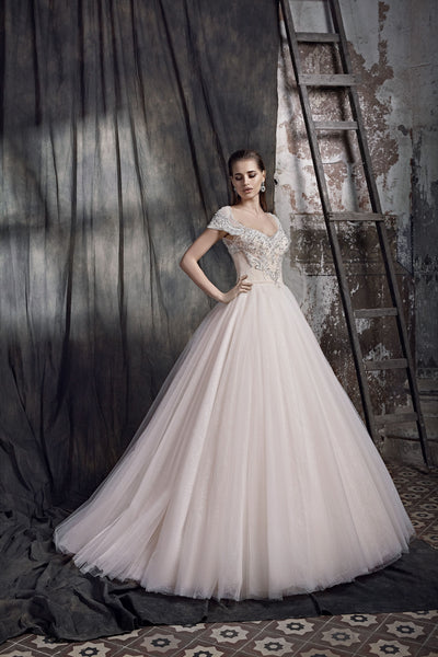 Giuliana - Embroidered Cap Sleeves Ball Gown - Maxima Bridal