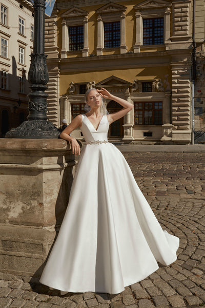 Eugene - Silk Mikado Organza Ball Gown with V-Neckline - Maxima Bridal