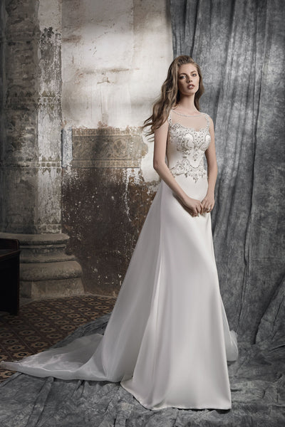 Novella - Sheath Wedding Dress with Detachable Train - Maxima Bridal