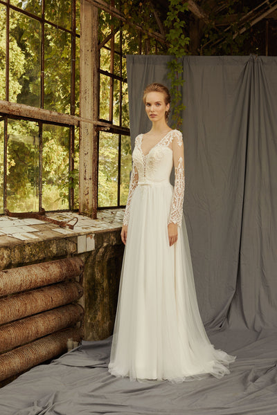 Lily - Long Sleeve Tulle A-Line Wedding Dress - Maxima Bridal