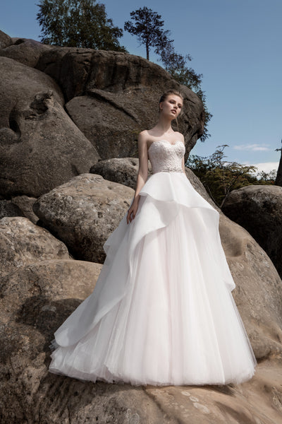Celine - Strapless Tiered Skirt Ball Gown with Lace Bodice - Maxima Bridal