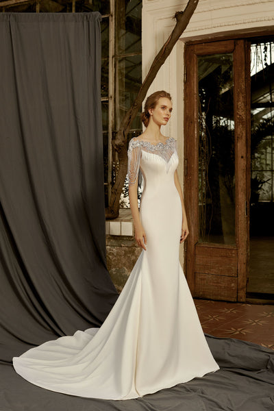 Eva - Crepe Sheath Wedding Dress with Beaded Strands - Maxima Bridal