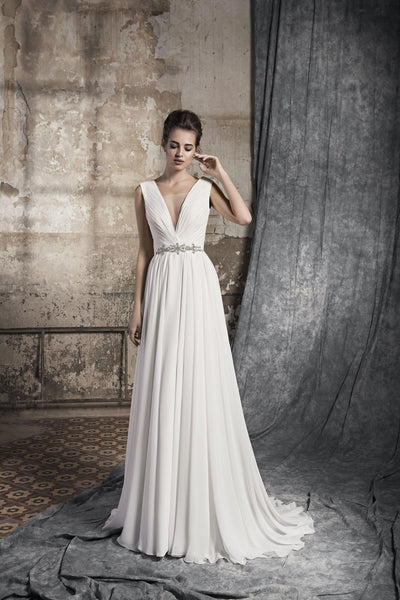Lisa - Chiffon Draped Wedding Dress with V-Neck - Maxima Bridal