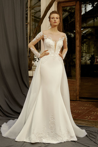 Jasmine - Long Sleeve Sheath Dress with Removable Train - Maxima Bridal
