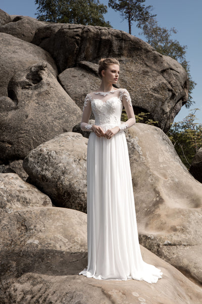 Scarlett - Long Sleeve Sheath Wedding Dress - Maxima Bridal