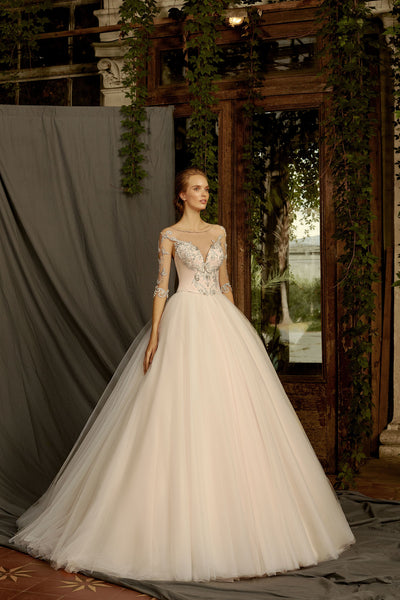 Linda - Long Sleeve Sweetheart Neckline Ball Gown - Maxima Bridal