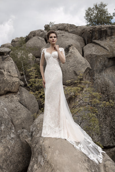 Zara - Long Sleeve Sheath Wedding Dress with Lace Train - Maxima Bridal