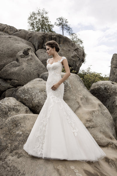 Bella - Lace Mermaid Wedding Gown with Illusion Back - Maxima Bridal