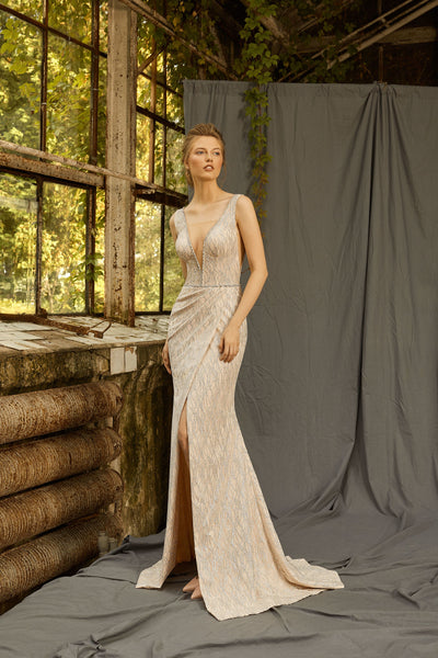 Mabel - Plunging V-Neck Sheath Dress with Slit Skirt - Maxima Bridal