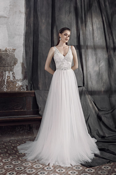 Simona - Tulle A-Line Wedding Dress with V-Neck - Maxima Bridal