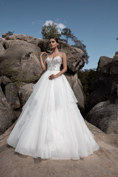 Victoria - Beaded Bodice Ball Gown with Ruffled Skirt - Maxima Bridal