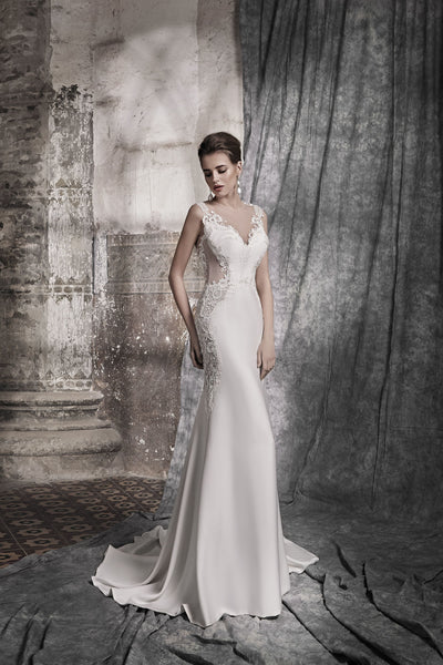 Dolce - Crepe Sheath Dress with Corded Lace Applique - Maxima Bridal