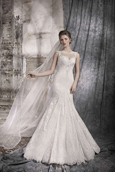 Flora - Allover Lace Mermaid Wedding Dress - Maxima Bridal