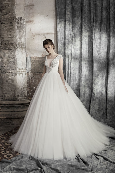Marsilia - Beaded Bodice Ball Gown with V-Neck - Maxima Bridal