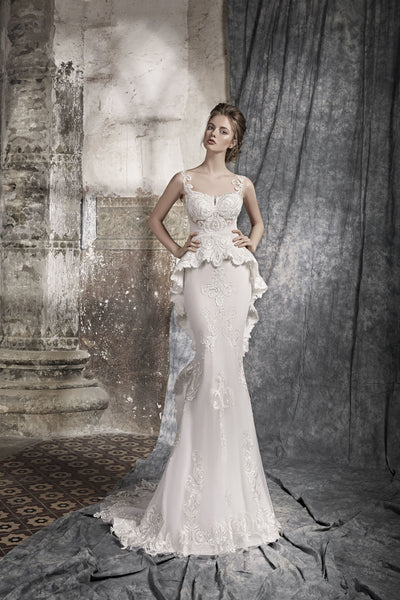 Masina - Sheath Wedding Dress with Corded Lace Applique - Maxima Bridal