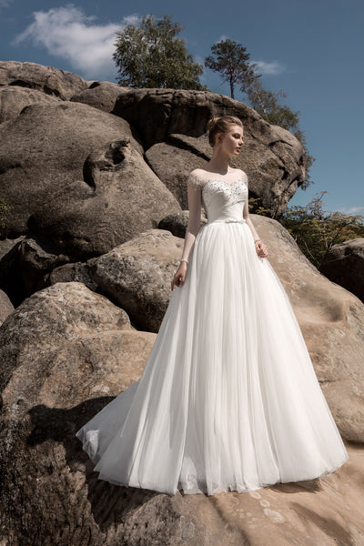 Chloe - Long Sleeve Ball Gown with Draped Sweetheart Bodice - Maxima Bridal