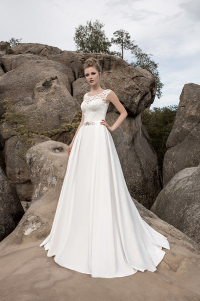 Evelyn - Satin A-Line Wedding Dress with Lace Bodice - Maxima Bridal