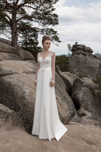 Josephine - Long Sleeve Sheath Wedding Dress - Maxima Bridal