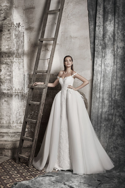 Gemma - Off the Shoulder Sheath Wedding Dress with Overskirt - Maxima Bridal