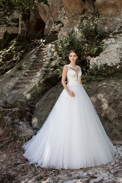 Gabriella - Plunging V-Neck Ball Gown with Lace Illusion Back - Maxima Bridal