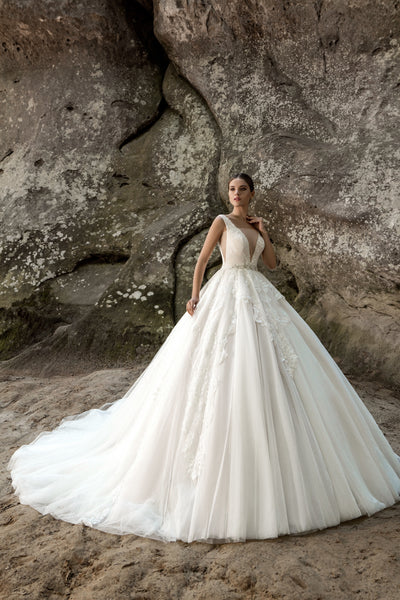 Angelina - Plunging V-Neck Princess Ball Gown - Maxima Bridal