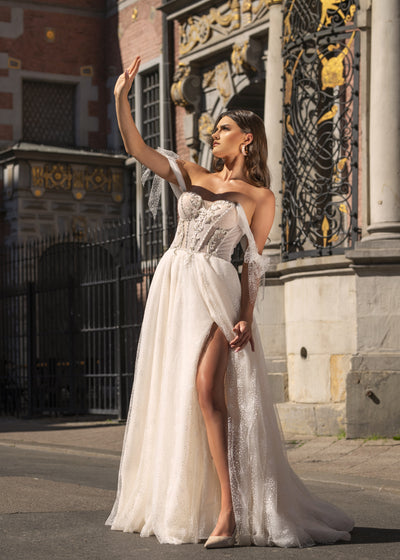 Danielle - Off the Shoulder A-Line Wedding Dress with Side Slit - Maxima Bridal