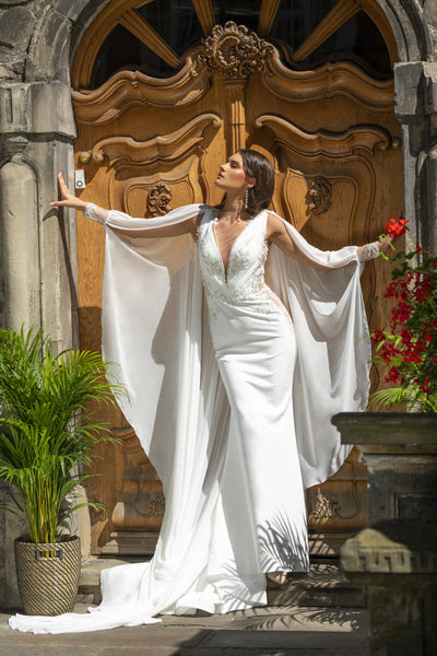 Sylvie - Modern V-Neck Sheath Wedding Dress with Bridal Cape - Maxima Bridal